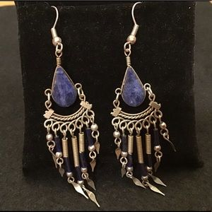 🦋VINTAGE BLUE LAPIS & STERLING WIRE BOHO EARRINGS